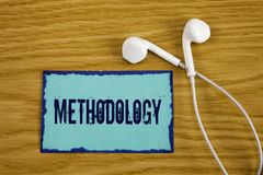 Nota de la escritura que muestra la metodología El sistema de exhibición de la foto del negocio de métodos usados en un estudio o Fotos de archivo
