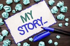 Nota de la escritura que muestra mi historia Cartera de exhibición del perfil de la historia personal del logro de la biografía d fotografía de archivo