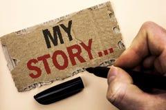 Nota de la escritura que muestra mi historia Cartera de exhibición del perfil de la historia personal del logro de la biografía d foto de archivo libre de regalías