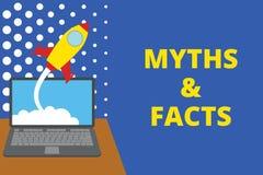 Nota de la escritura que muestra mitos y hechos Foto del negocio que muestra historia generalmente tradicional de aparentemente h libre illustration