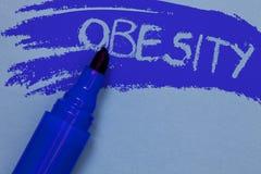 Nota de la escritura que muestra obesidad El exceso de exhibición de la dolencia de la foto del negocio de grasas de cuerpo acumu Fotografía de archivo