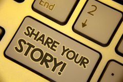 Nota de la escritura que muestra a parte su historia llamada de motivación Texto personal de exhibición dos de la memoria de la n foto de archivo libre de regalías