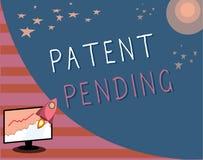 Nota de la escritura que muestra la patente pendiente Petición de exhibición de la foto del negocio archivada ya pero no todavía  ilustración del vector