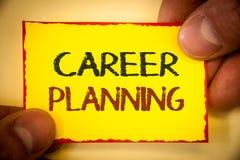 Nota de la escritura que muestra la planificación de la carrera Foto del negocio que muestra la estrategia educativa Job Growth T Fotos de archivo libres de regalías