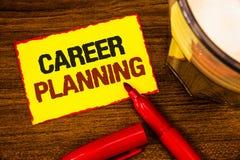 Nota de la escritura que muestra la planificación de la carrera Foto del negocio que muestra la estrategia educativa Job Growth W imágenes de archivo libres de regalías