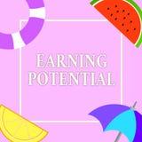 Nota de la escritura que muestra potencial de la ganancia Foto del negocio que muestra el sueldo superior para un campo particula ilustración del vector