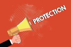 Nota de la escritura que muestra la protección El estado de exhibición de la foto del negocio de la protección guardado contra pe libre illustration