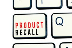 Nota de la escritura que muestra retirada de productos Petición de exhibición de la foto del negocio de una compañía de volver el fotos de archivo