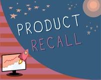 Nota de la escritura que muestra retirada de productos Petición de exhibición de la foto del negocio de una compañía de volver el stock de ilustración
