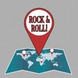 Nota de la escritura que muestra rock-and-roll Foto del negocio que muestra el tipo musical del género de sonido pesado popular d stock de ilustración