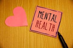 Nota de la escritura que muestra salud mental Fotos del negocio que muestran bienestar psicológico y emocional de la condición de imágenes de archivo libres de regalías