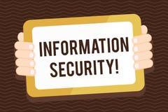Nota de la escritura que muestra seguridad de informaci?n Exhibici?n de la foto del negocio protegida contra el uso no autorizado libre illustration