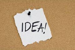 Nota de la idea sobre tablón de anuncios Foto de archivo libre de regalías