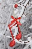 Nota de la música de la Navidad, escena de la Navidad, decoración Imagen de archivo libre de regalías