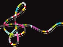 Nota de la música de la raya del color ilustración del vector