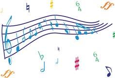 Nota de la música en perspectiva Imágenes de archivo libres de regalías