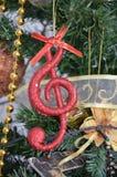 Nota de la música, escena de la Navidad, decoración Imágenes de archivo libres de regalías