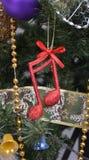 Nota de la música, escena de la Navidad, decoración Imagen de archivo libre de regalías
