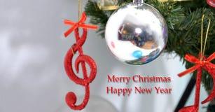 Nota de la música, escena de la Navidad, decoración Foto de archivo