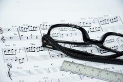 Nota de la música para la idea de la canción Imagenes de archivo