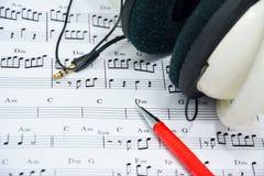 Nota de la música para la idea de la canción Fotos de archivo