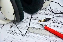 Nota de la música para la idea de la canción Imágenes de archivo libres de regalías