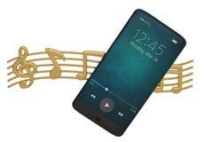 Nota de la música y concepto del audio del Smart-teléfono ilustración 3D stock de ilustración