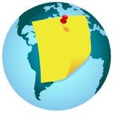 Nota de la nota de la tierra del globo Imagen de archivo libre de regalías