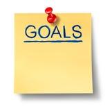 Nota de la oficina de las hojas de operación (planning) de la estrategia de las metas aislada Foto de archivo