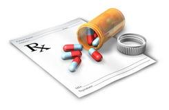 Nota de la prescripción con la botella de píldora Imagen de archivo libre de regalías