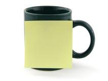 Nota de la taza y de post-it Imágenes de archivo libres de regalías