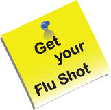 Nota de la vacuna contra la gripe Imagen de archivo libre de regalías