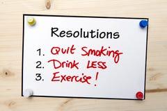 Nota de las resoluciones del Año Nuevo Fotos de archivo