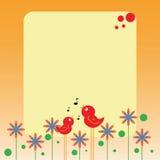 Nota de los pájaros y de las flores Fotografía de archivo libre de regalías
