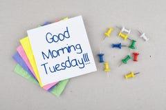 Nota de martes de la buena mañana Fotografía de archivo
