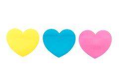Nota de papel do coração Foto de Stock Royalty Free