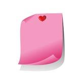 Nota de papel rosada Imagen de archivo libre de regalías