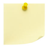 Nota de post-it amarela Fotos de Stock Royalty Free