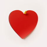 Nota de post-it da forma do coração Imagens de Stock