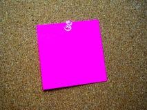 Nota de post-it rosada Fotografía de archivo libre de regalías