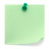 Nota de post-it verde Imagens de Stock Royalty Free