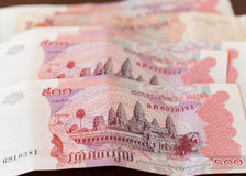 Nota de quinientos rieles de Camboya Fotos de archivo
