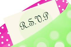 Nota de RSVP Foto de Stock