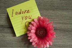 Nota del amor le adoro Imagen de archivo libre de regalías