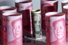 Nota del curerncy de China los E.E.U.U. Imagen de archivo libre de regalías
