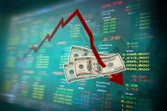 Nota del dólar y gráfico que caen de la bolsa Fotografía de archivo libre de regalías