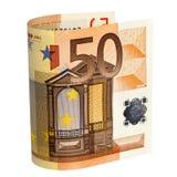Nota del euro cincuenta con el camino Imagen de archivo