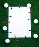 Nota del golf con las clavijas imagenes de archivo