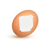 Nota del huevo foto de archivo libre de regalías