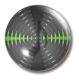 Nota del orbe del botón de las ondas acústicas Imagen de archivo libre de regalías
